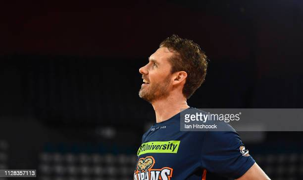 Alex Loughton of the Taipans warms up before the start of the round 17 NBL match between the Cairns Taipans and the Brisbane Bullets at Cairns...