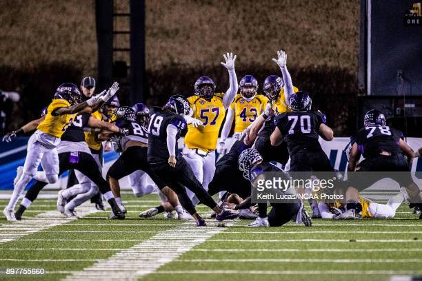 Alex Louthan of the University of Mount Union attempts a field goal during the Division III Men's Football Championship held at Salem Stadium on...