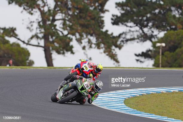 Alex Lowes of Great Britain and Kawasaki Racing Team WorldSBK leads the field during the 2020 Superbike World Championship at Phillip Island Grand...