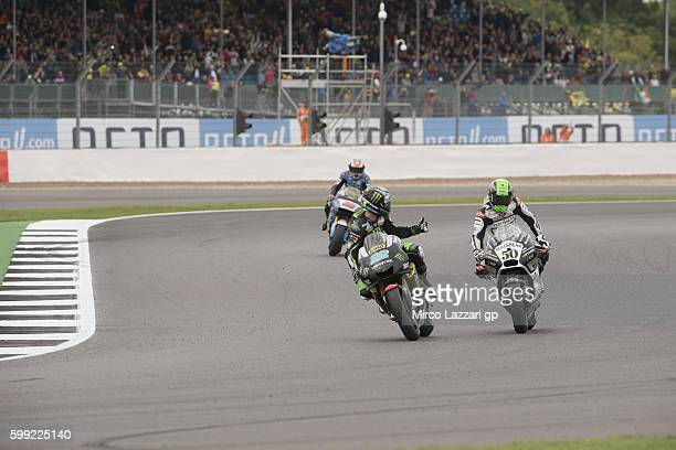 Alex Lowes of Great Britain and Monster Yamaha Tech 3 greets during the MotoGP race during the MotoGp Of Great Britain Race at Silverstone Circuit on...