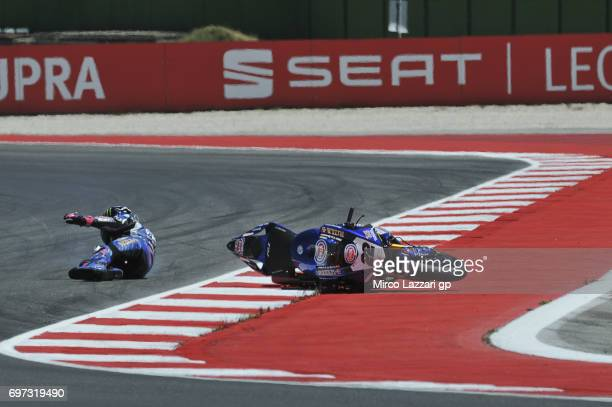 Alex Lowes of Great Britain and PATA Yamaha Official WorldSBK Team crashed out during the Superbike Race 2 during the FIM Superbike World...