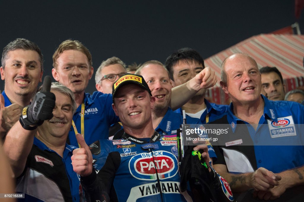 Alex Lowes of Great Britain and PATA Yamaha Official WorldSBK Team celebrates with team the third place at the end of the Superbike race 2 during the FIM Superbike World Championship in Qatar - Race 2 at Losail Circuit on November 4, 2017 in Doha, Qatar.