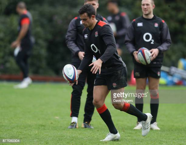 Alex Lozowski kicks the ball upfield during the England training session held at Pennyhill Park on November 21 2017 in Bagshot England