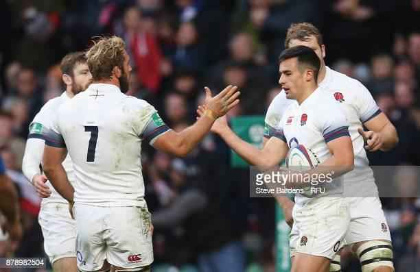 Alex Lozowski of England celerbates scoring his sides second try with Chris Robshaw of England during the Old Mutual Wealth Series match between...
