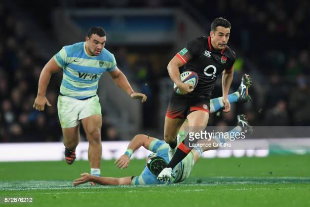 Alex Lozowski of England on the charge during the Old Mutual Wealth Series match between England and Argentina at Twickenham Stadium on November 11,...