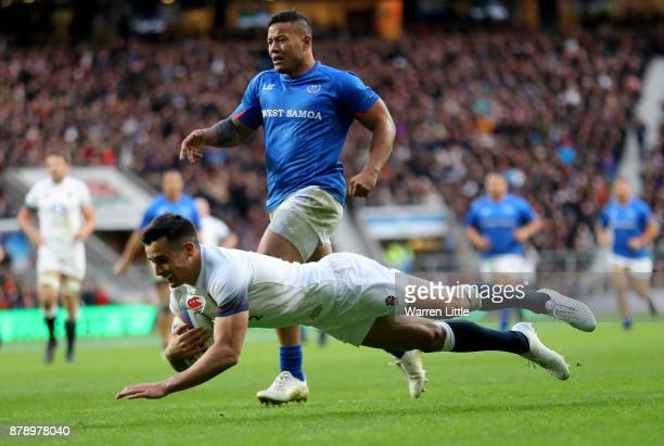 Alex Lozowski of England touches down for the second try during the Old Mutual Wealth Series match between England and Samoa at Twickenham Stadium on...