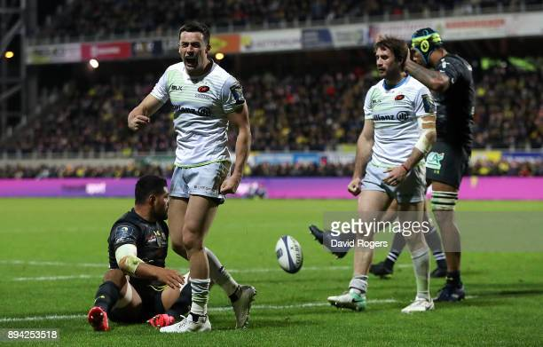 Alex Lozowski of Saracens celebrates after scoring his team's second try of the game during the European Rugby Champions Cup match between ASM...