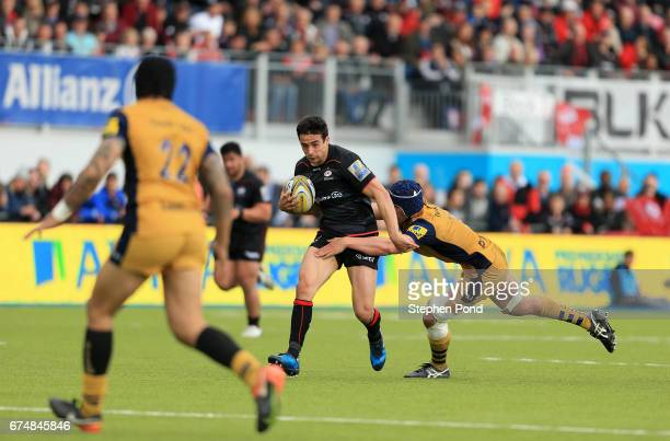 Alex Lozowski of Saracens during the Aviva Premiership match between Saracens and Bristol Rugby at Allianz Park on April 29 2017 in Barnet England