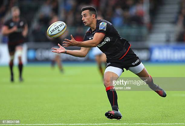 Alex Lozowski of Saracens gathers a loose ball during the Aviva Premiership match between Saracens and Wasps at Allianz Park on October 9 2016 in...