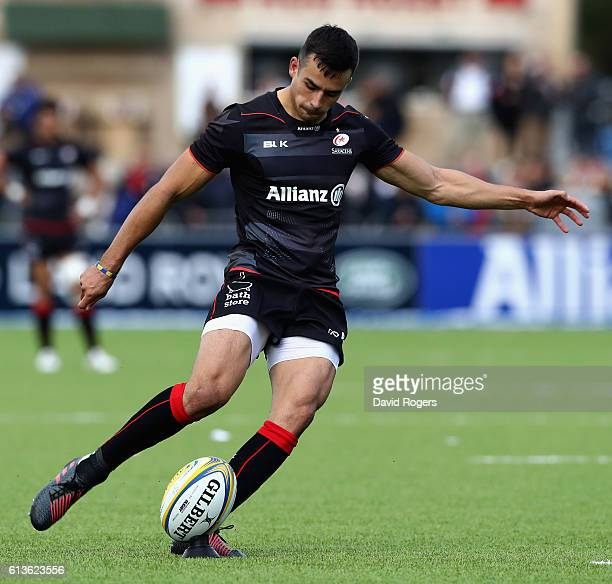 Alex Lozowski of Saracens kicks a penalty during the Aviva Premiership match between Saracens and Wasps at Allianz Park on October 9, 2016 in Barnet,...