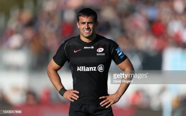 Alex Lozowski of Saracens looks on during the Gallagher Premiership Rugby match between Saracens and Bath Rugby at Allianz Park on September 29 2018...