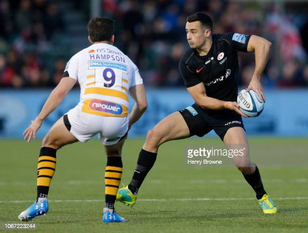 Alex Lozowski of Saracens prepares to pass the ball during the Gallagher Premiership Rugby match between Saracens and Wasps at Allianz Park on...