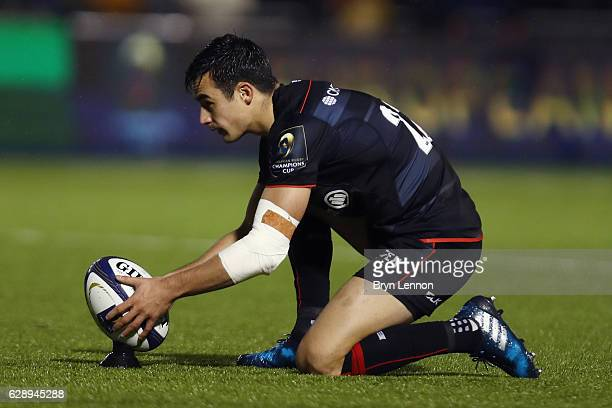 Alex Lozowski of Saracens prepares to take a conversion during the European Rugby Champions Cup match between Saracens and Sale Sharks at Allianz...