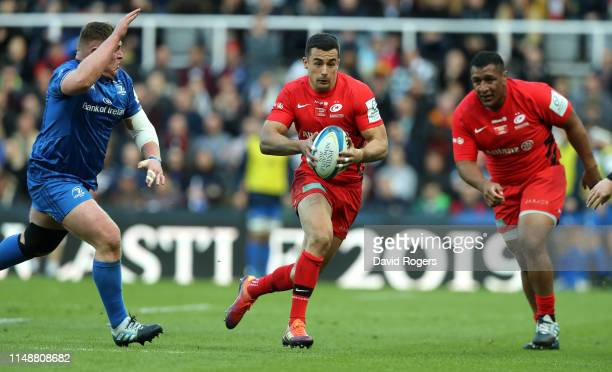 Alex Lozowski of Saracens runs with the ball during the Champions Cup Final match between Saracens and Leinster at St. James Park on May 11, 2019 in...
