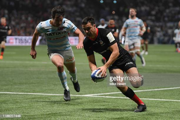 Alex Lozowski of Saracens scores a try during the Heineken Champions Cup Round 1 match between Racing 92 and Saracens at Paris La Defense Arena on...