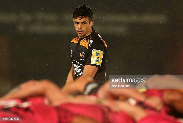 Alex Lozowski of Wasps in action during the Aviva Premiership match between Wasps and London Welsh at Adams Park on November 16, 2014 in High...
