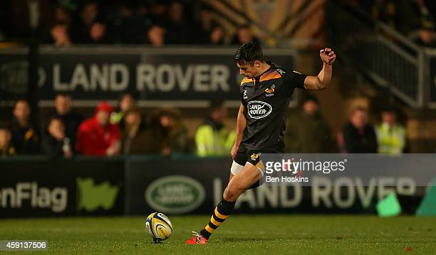 Alex Lozowski of Wasps kicks a conversion during the Aviva Premiership match between Wasps and London Welsh at Adams Park on November 16, 2014 in...