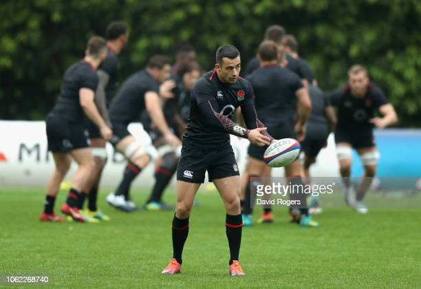 Alex Lozowski passes the ball during the England captain's run at Pennyhill Park on November 16 2018 in Bagshot England