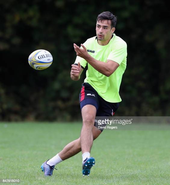 Alex Lozowski passes the ball during the Saracens training session held at their traning centre on September 5 2017 in St Albans England