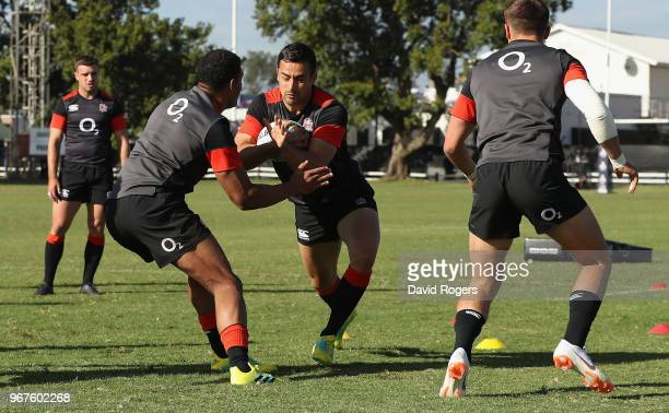 Alex Lozowski takes on Nathan Earle during the England training session held at Kings Park Stadium on June 5 2018 in Durban South Africa