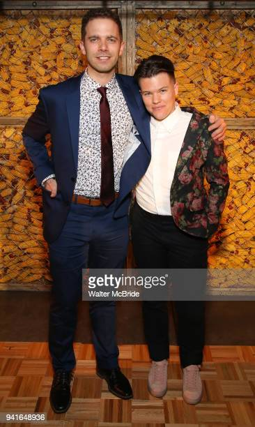 Alex Lubischer and Will Davis attend the opening night press reception for the Roundabout Theatre Company/Roundabout Underground production of...