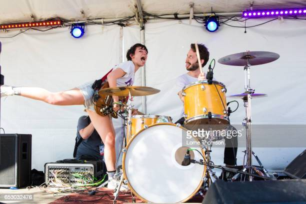 Alex Luciano and Noah Bowman of Diet Cig perform at the 6th annual Strange Brew party during SXSW at Hotel Vegas on March 13 2017 in Austin Texas
