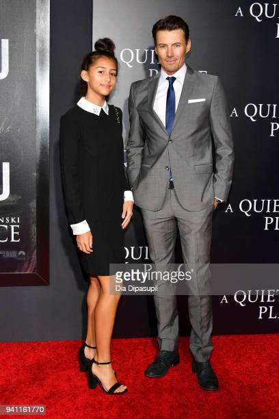 Alex Lundqvist and daughter attend the 'A Quiet Place' New York Premiere at AMC Lincoln Square Theater on April 2 2018 in New York City