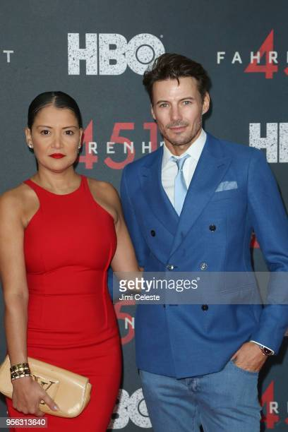 Alex Lundqvist and Keytt Lundqvist attends the New York premiere of 'Farenheit 451' at NYU Skirball Center on May 8 2018 in New York New York
