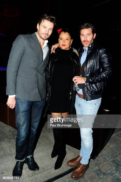 Alex Lundqvist Keytt Lundqvist and Benjamin Thigpen attend The Cinema Society Bluemercury host the after party for IFC Films' 'Freak Show' at Public...