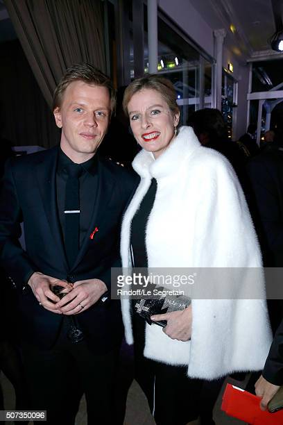 Alex Lutz and Karin Viard attend the Sidaction Gala Dinner 2016 as part of Paris Fashion Week. Held at Pavillon d'Armenonville on January 28, 2016 in...