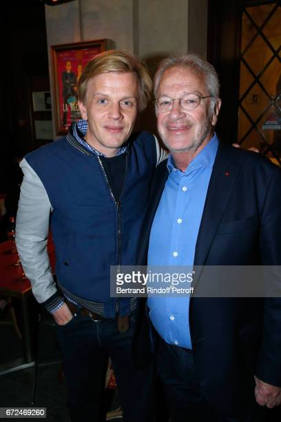 Alex Lutz and Stage director of the piece Bernard Murat attend 'La Recompense' Theater Play at Theatre Edouard VII on April 24 2017 in Paris France