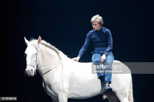 Alex Lutz performs with a Horse during his One Man Show At L'Olympia on February 8 2018 in Paris France