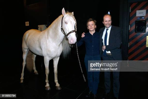 Alex Lutz the Horse of the show and Producer of the show JeanMarc Dumontet pose after the Alex Lutz One Man Show At L'Olympia on February 8 2018 in...