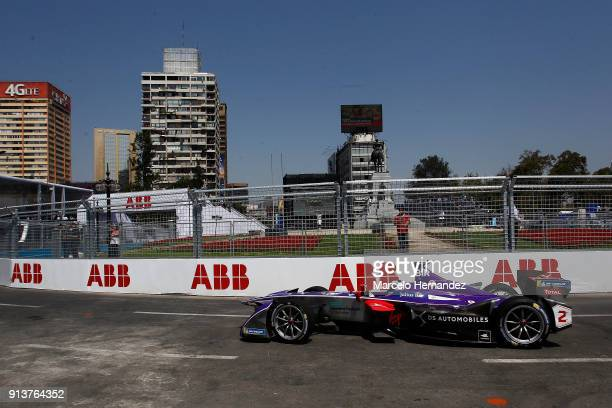 Alex Lynn of Britain DS Virgin Racing drives during the qualifying laps as part of the ABB FormulaE Antofagasta Minerals Santiago EPrix on February 3...