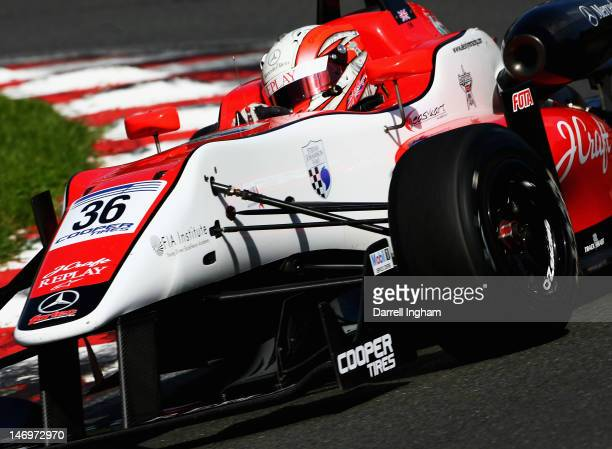 Alex Lynn of Great Britain drives the Fortec Motorsport Dallara F312 Mercedes during the Cooper Tires British Formula 3 Championship race at the...