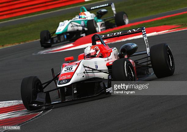 Alex Lynn of Great Britain drives the Fortec Motorsport Dallara F312 Mercedes HWA ahead of Jazeman Jaafar of Malaysia driving the Petronas Carlin...
