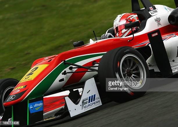 Alex Lynn of Great Britain drives the Prema Powerteam Dallara F312 Mercedes during the FIA European Formula 3 Championship race at the Brands Hatch...
