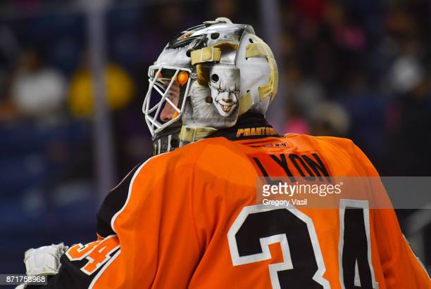 Alex Lyon of the Lehigh Valley Phantoms watched the action at the Webster Bank Arena on November 8 2017 in Bridgeport Connecticut
