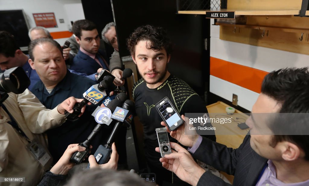 Alex Lyon #49 of the Philadelphia Flyers speaks to the media after defeating the Montreal Canadiens 3-2 in overtime on February 20, 2018 at the Wells Fargo Center in Philadelphia, Pennsylvania.