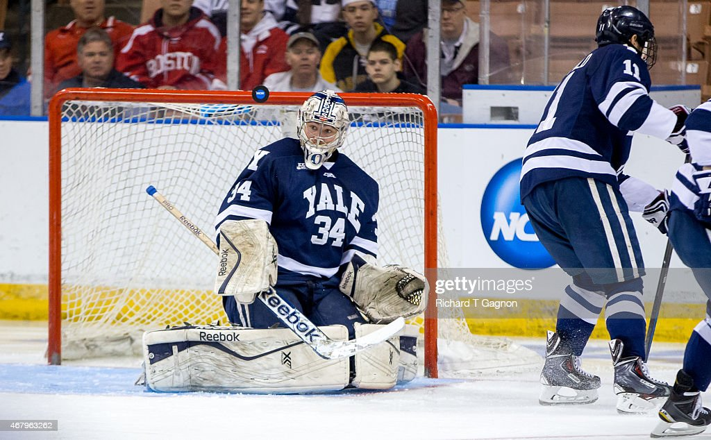 Alex Lyon #34 of the Yale Bulldogs tends goal against the Boston University Terriers during the NCAA Division I Men's Ice Hockey Northeast Regional Championship Semifinal at the Verizon Wireless Arena on March 27, 2015 in Manchester, New Hampshire. The Terriers won 3-2 in overtime.