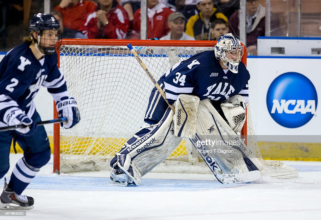 Alex Lyon #34 of the Yale Bulldogs tends goal against the Boston University Terriers during the NCAA Division I Men's Ice Hockey Northeast Regional Championship Semifinal at the Verizon Wireless Arena on March 27, 2015 in Manchester, New Hampshire.