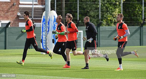 Alex Manninger Loris Karius and Simon Mignolet of Liverpool during a training session at Melwood Training Ground on August 16 2016 in Liverpool...