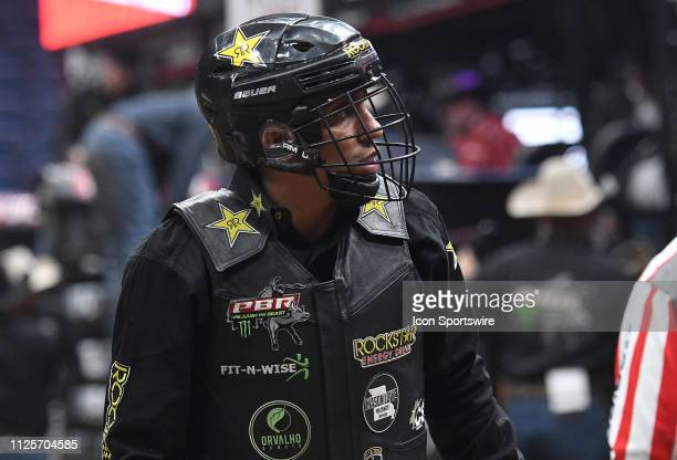 Alex Marcilio after riding the bull Black Rose during the Professional Bullriders Mason Lowe Memorial on February 16 at Enterprise Center St Louis MO