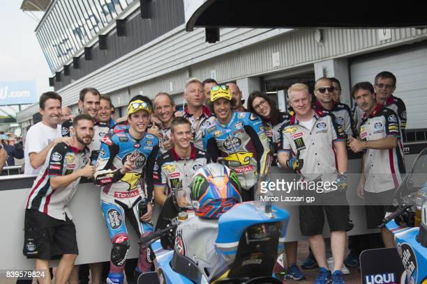 Alex Marquez of Spain and EG 00 Marc VDS and Franco Morbidelli of Italy and EG 00 Marc VDS celebrate with team at the end of the qualifying practice...