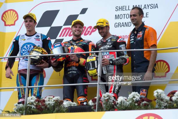Alex Marquez of Spain and EG 0,0 Marc VDS, Brad Binder of South Africa and Red Bull KTM Ajo, Thomas Luthi of Swiss and Dynavolt Intact GP celebrate...