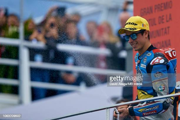 Alex Marquez of Spain and EG 00 Marc VDS celebrates during the MotoGP of Valencia Race at Ricardo Tormo Circuit on November 18 2018 in Valencia Spain