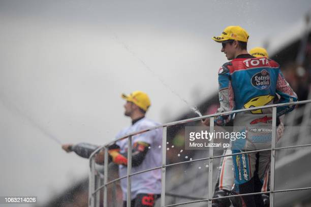 Alex Marquez of Spain and EG 00 Marc VDS celebrates the third place on the podium at the end of the Moto2 race during the MotoGP Of Valencia Race at...