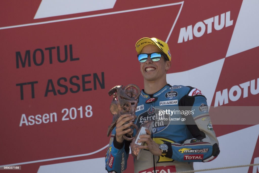Alex Marquez of Spain and EG 0,0 Marc VDS celebrates the third place on the podium at the end of the Moto2 race during the MotoGP Netherlands - Race on July 1, 2018 in Assen, Netherlands.