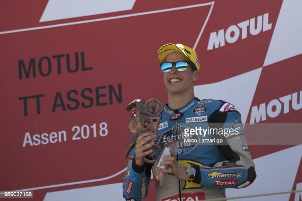 Alex Marquez of Spain and EG 00 Marc VDS celebrates the third place on the podium at the end of the Moto2 race during the MotoGP Netherlands Race on...