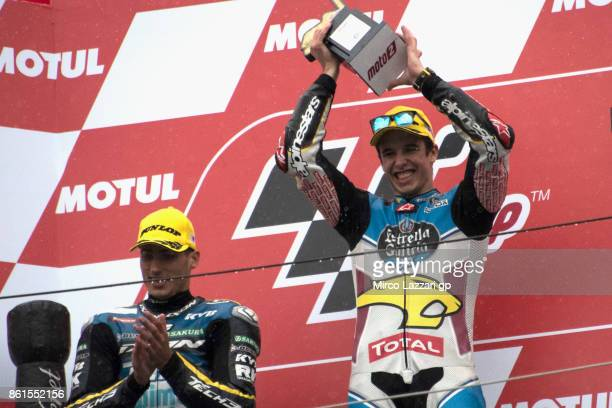 Alex Marquez of Spain and EG 00 Marc VDS celebrates the victory on the podium at the end of the Moto2 race during the MotoGP of Japan Race at Twin...